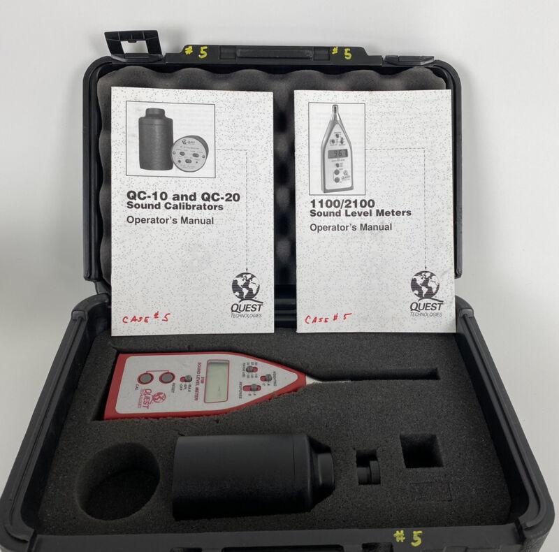 Quest 3M 2100 Sound Level Meter w/ QC-10 Calibrator, Manuals & Case Working