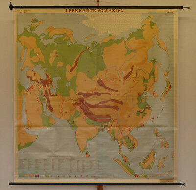 Wall Map Asian 173x184 1965 Vintage Asia Learning School Roll up Wall Map Chart