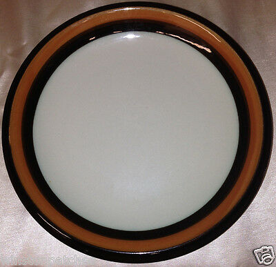 "RORSTRAND SWEDEN ANNIKA SALAD PLATE 8 1/4"" BROWN & ORANGE TRIM OFF WHITE"