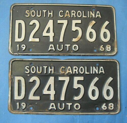 1968 South Carolina license plates matched pair