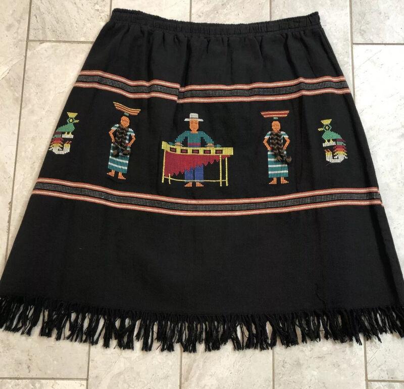 Vintage 80's Mexican Or Peru Embroidered Cotton Woven Novelty Souvenir Skirt EUC
