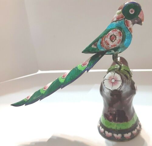 "5"" Parrot Bird on Branch STERLING SILVER 123g Figurine Enamel Meena-Kari India"