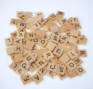 100 Wood Scrabble Tiles Complete Set