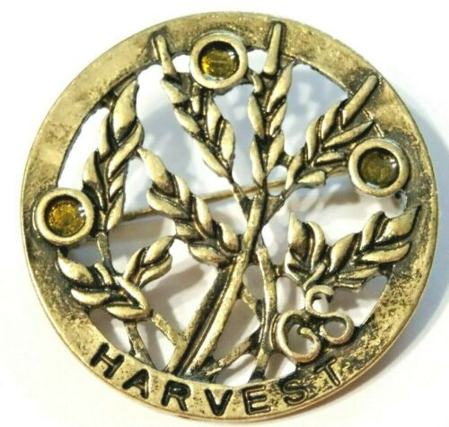 VINTAGE GIRLS SCOUT HARVEST BROOCH PIN ~ BLADES OF WHEAT WITH ACCENTS