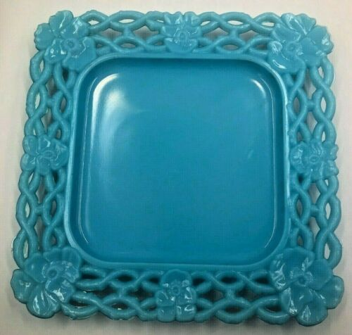 Pansy & Chains Square Blue Milk Glass Plate Antique