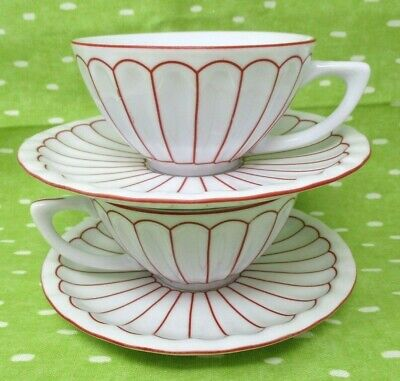 Harbor East Teacup and Saucer Set Red White Stripes Set of Two - one -