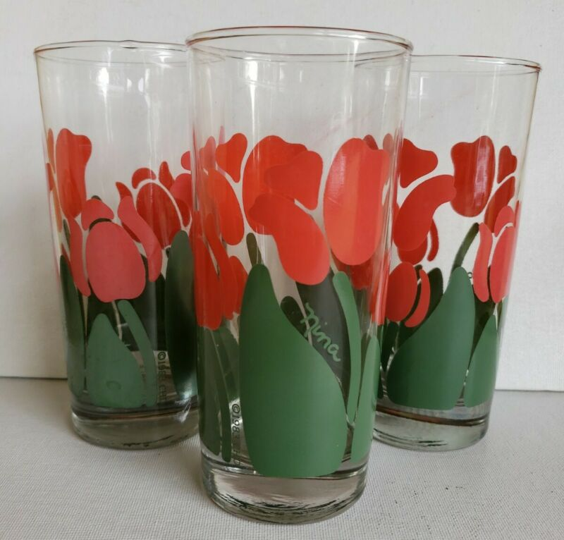 3 Anchor Hocking CHD 1983 Nina Red Tulip Floral Flowers Glass