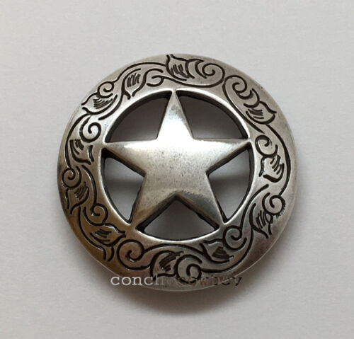 WESTERN SADDLE HORSE TACK ANTIQUE ENGRAVED RANGER STAR CONCHOS screw back