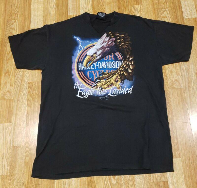 """Vintage 1989 Harley Davidson 3D Emblem  T-Shirt """"The Eagle Has Landed"""" XL-  OHIO"""