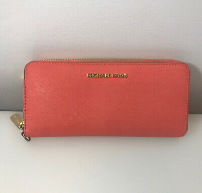 Michael Kors Saffiano Leather Travel Continental Zip Around Wallet Pink $138