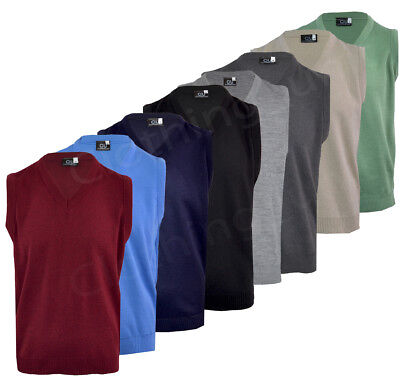 Mens Plain V Neck Sleeveless Sweater Jumper Tank Top Jersey Golf Casual S-XXL