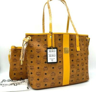 AUTH NWT MCM Liz Shopper Medium Reversible Coated Canvas Tote Shopper Bag Cognac