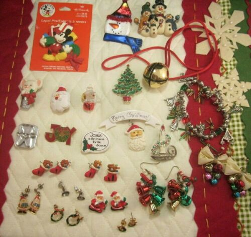 VTG to Mod Christmas Jewelry Lot-Mickey-Santa-Snowmen-Bells-Pierced Earrings-Etc
