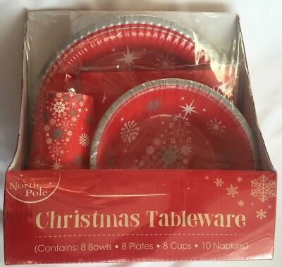 Christmas Tree Tableware Party Set Disposable Paper Plates Cups XMAS - Paper Christmas Tableware