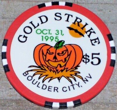 $5 LTD HALLOWEEN 1995 GAMING CHIP FROM THE GOLD STRIKE CASINO BOULDER CITY NV