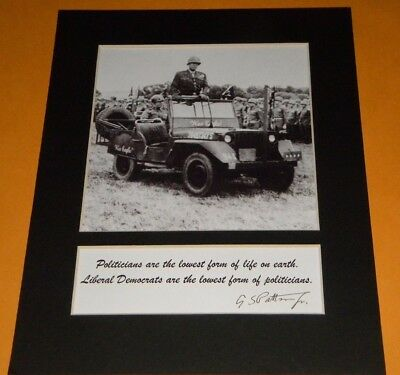 GENERAL GEORGE PATTON POLITICIAN QUOTE PHOTO REPRINT SIGNATURE AUTOGRAPH DISPLAY