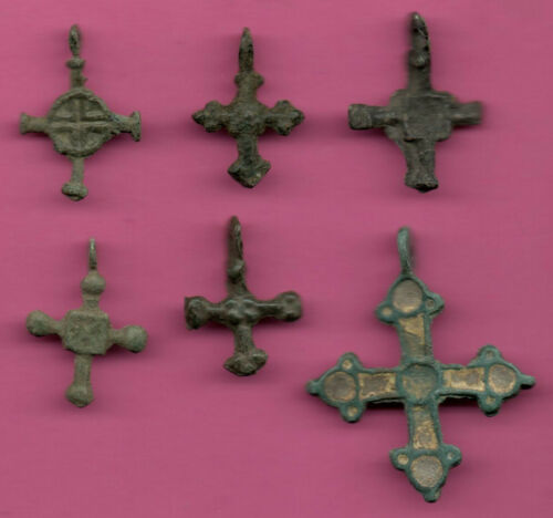 Lot of 6 Russia Bronze Ortodox Cross ca 1050 11-12th Viking Byzantine 700
