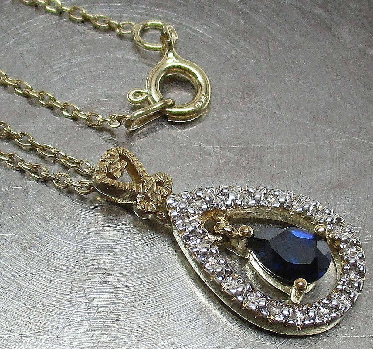 18K GOLD ON 925 STERLING SILVER Pear-Cut SAPPHIRE DIAMOND Pendant Necklace - $4.99