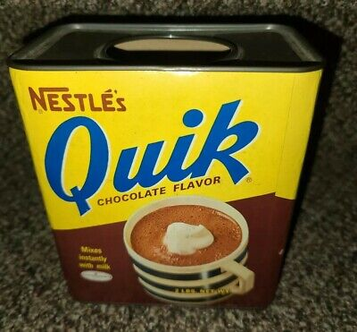 Vintage 60s 70s NESTLE'S QUIK 2 LB Tin Cardboard Can Container No 2426NCno lid
