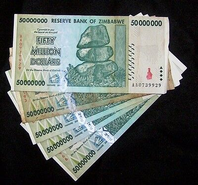 Million Dollar Currency (5 x Zimbabwe 50 Million Dollar Banknotes-paper money)