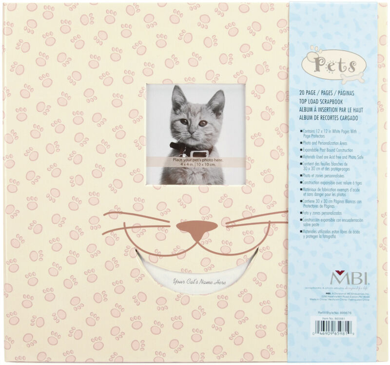"MBI Pet Post Bound Album W/Window 12""X12""-Cat"