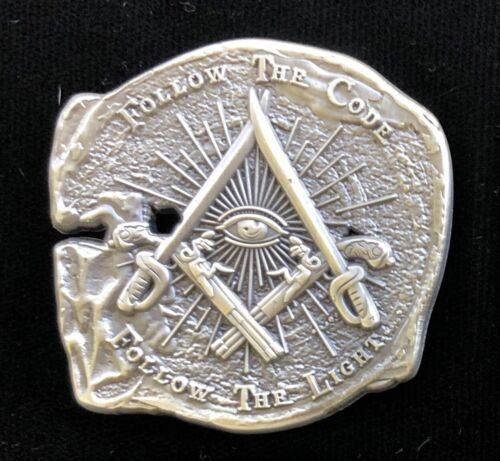 Doubloon Pirate Challenge coin with Freemason Masonic symbols, antique silver