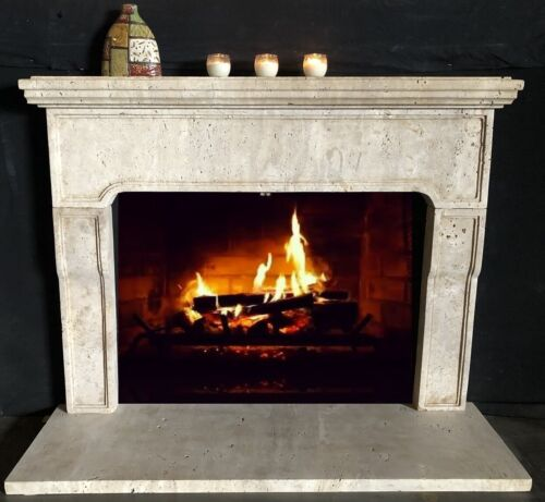 Simple Travertine Mantle - Simple Fireplace Stone Surround  - Old World Mantel
