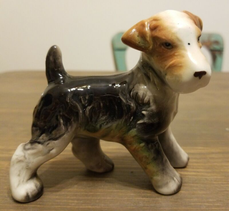 Vintage Wire  Haired Fox Terrier Dog Figurine Made in Japan Ceramic