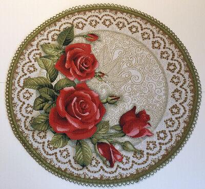 Tischläufer Tischdecke 50x50cm GOBELIN  Gobelindecke Natur Bayerische Rosen