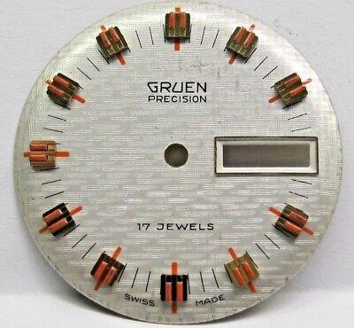 Vintage Gents Gruen Day/Date Watch Dial 29 mm Round/ Raised Gold/Orange Markers