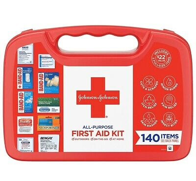 Johnson and Johnson Emergency First Aid Kit Portable For Home Travel Car 140