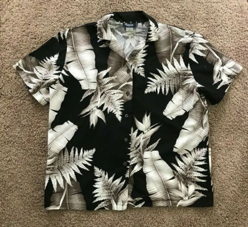 Vintage Royal Creations Hawaiian Aloha Black Floral Womens Blouse Sz Small