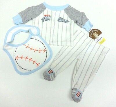 Carter's  3 teiliger Frühchen Gr. 44 Babyanzug Baseball Body Hose Latz Junge  ()