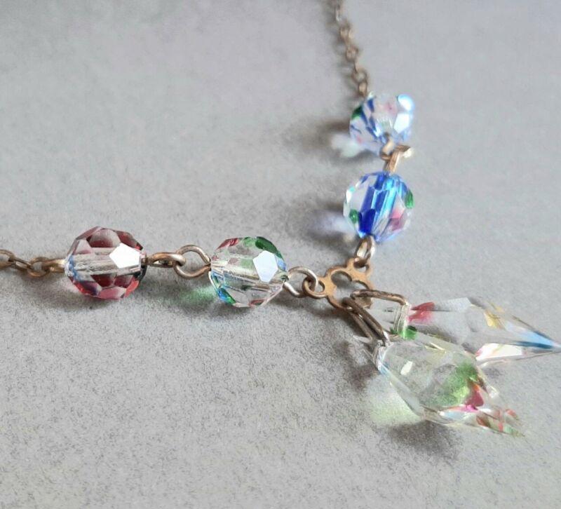Antique Vintage Art Deco Iris Arc Crystal Briolette Fringe Pendant Necklace
