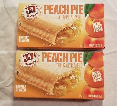 2 Jjs Bakery Lightly Glazed Peach Pies 4Oz Yummy Fruit Pie Snack Dessert