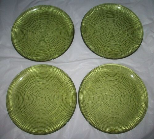 VINTAGE AVOCADO GREEN FIRE KING SORENO DINNER PLATES - SET OF 4