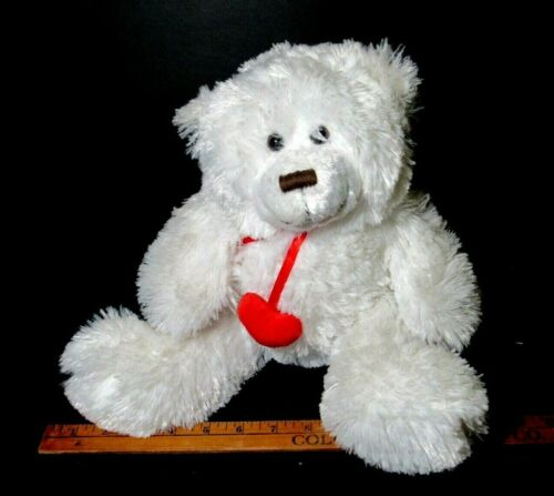 """Valentines Day Plush LOVE Bear Two Hearts White Smiling 14"""""""