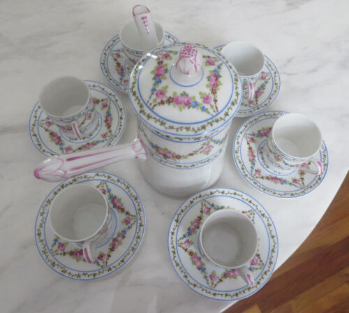 Rare Serving for 6 SAXE France Porcelain  Hand Painted  Chocolate/tea Set