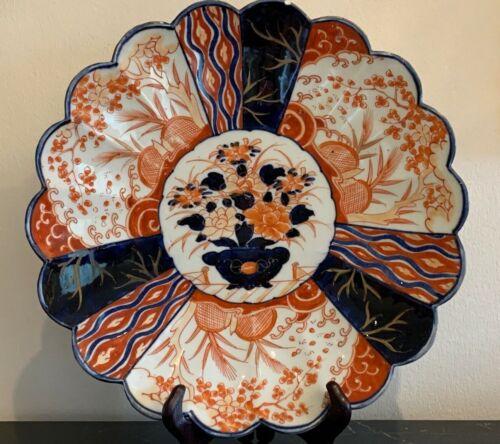 "Impressive Antique Japanese 12"" Scalloped Imari Plate"