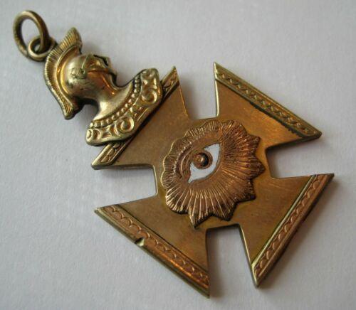 ANTIQUE Fraternal Gold Filled KNIGHTS OF PYTHIAS Fob Charm Pendant Enamel EYE
