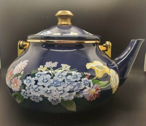 Gailstyn-Sutton Jardine Collection Porcelain Enamel Tea Pot Kettle Blue 1985