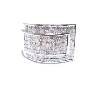 Mens 14k White Gold 3.50ct Princess Cut Invisible Setting White Diamond Ring Diamond Invisible Mens Ring
