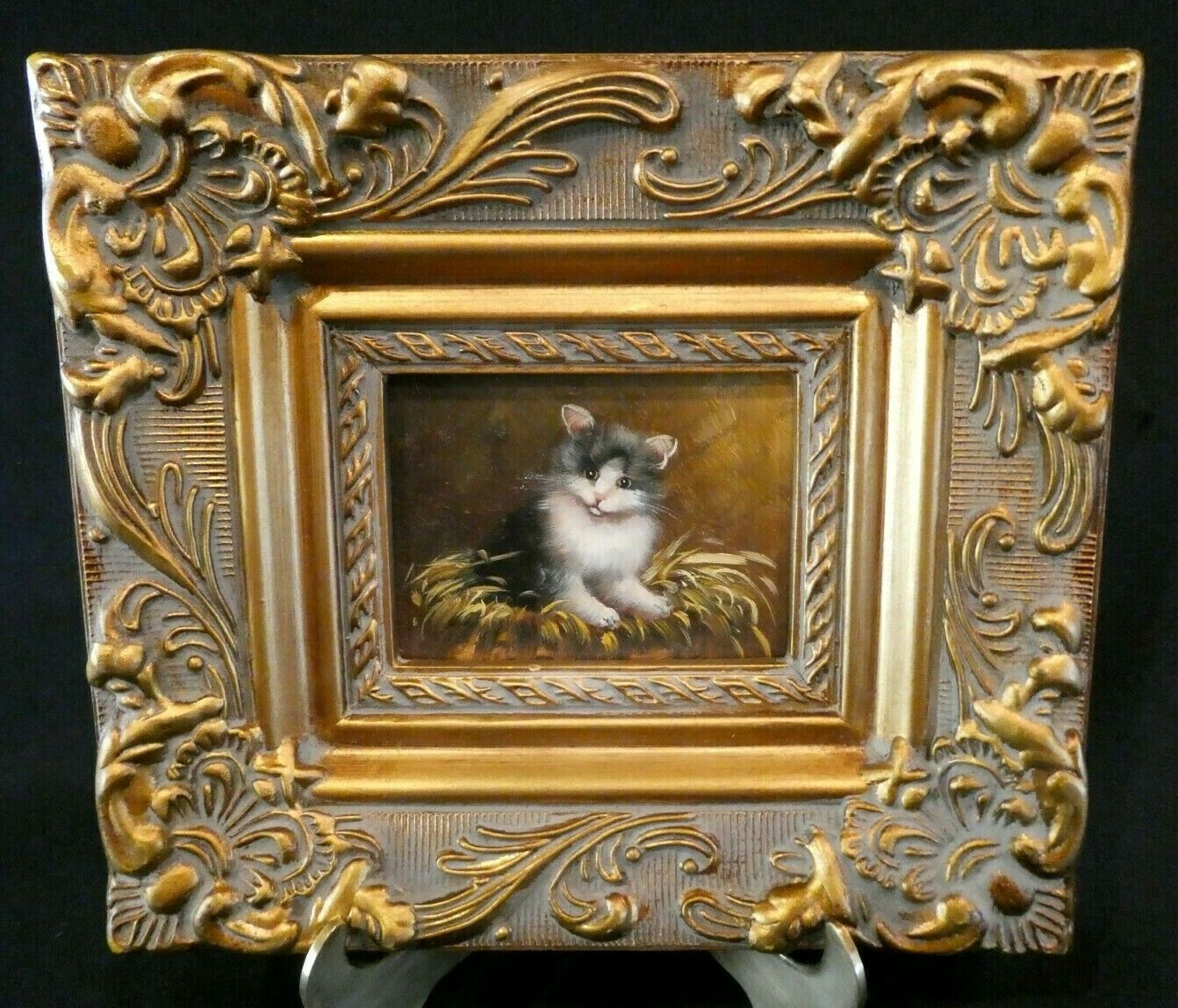 Vintage Antique Gold Gilt Gesso Frame With Oil Painting Of A Cat Kitten On Wood  - $128.50