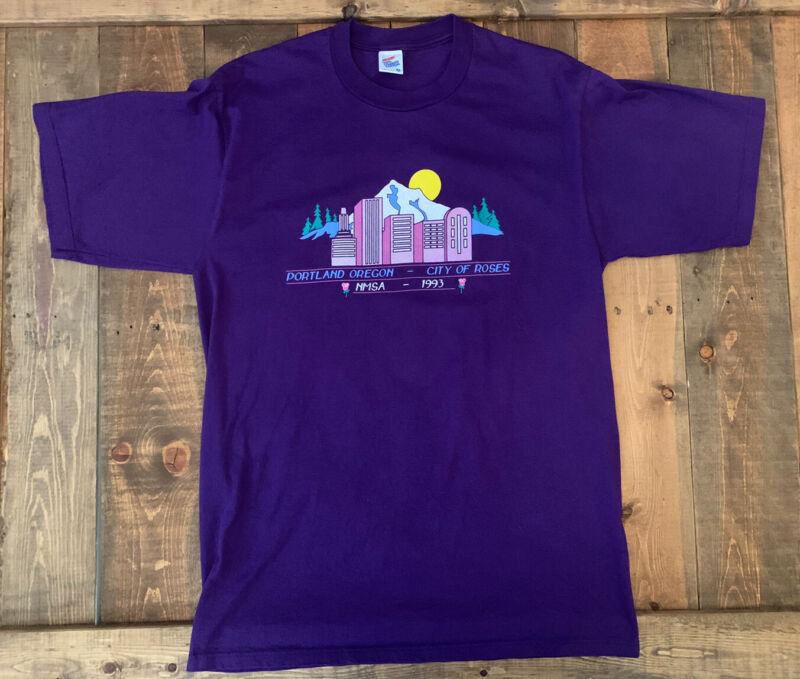 Vintage Portland Oregon T-shirt City Of Roses Purple Size XL NMSA-1993 Made USA