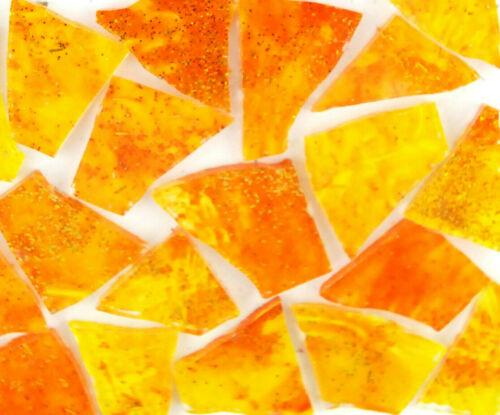 100 ORANGE and YELLOW color glass pieces by Makena Tile