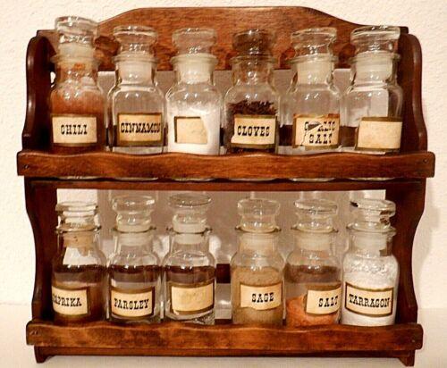 Vintage Wood Spice Rack with 12 Bottles made in Japan