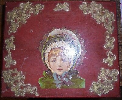 St Patrick's Day Girl wood trinket box for repair vintage reproduction crafting