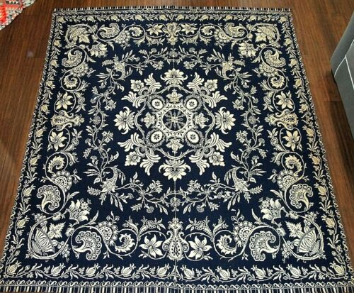 Antique 1800s Hand Woven Overshot Weave 79x88 Reversible Coverlet Blanket, 1833