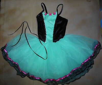 Long tutu Ballet Dance Costume lace up front Black lace Pistachio G. large Ch