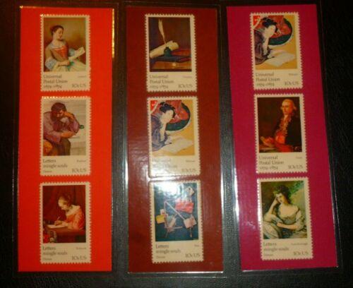 3 BOOKMARKS~ UNITED STATES Laminated Universal Postal Union 1974 ART